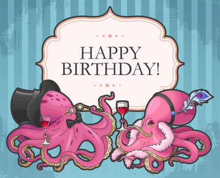 funny birthday: Vector retro birthday card with two funny octopuses
