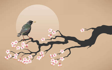starling: Vector illustration of branch of blooming cherry with starling Illustration