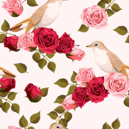 ruise�or: Vintage nightingale and roses vector seamless background Vectores