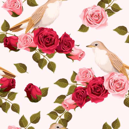 bird nightingale: Vintage nightingale and roses vector seamless background Illustration