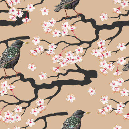 starling: Branch of blooming cherry with starling vector seamless background