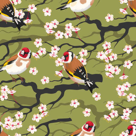 blooming: Branch of blooming cherry with goldfinch vector seamless background