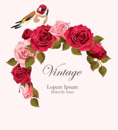 Tarjeta del vector de la vendimia hermosa con las rosas rojas y rosadas corona y jilguero