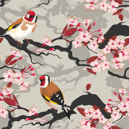 goldfinch: Branch of blooming cherry with goldfinch vector seamless background
