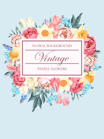 Shabby-chic vector background decorated with pastel flowers