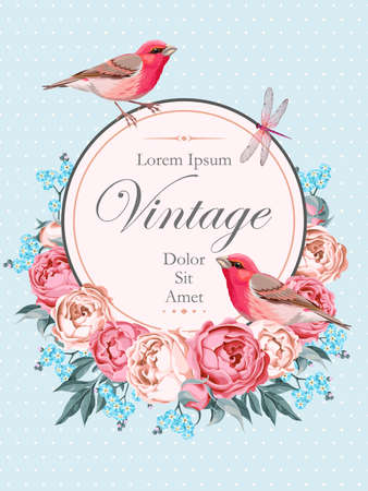 finch: Beautiful vintage vector card with birds and peony on light blue background with polka dot