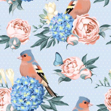 pájaros y flores de cosecha de vector de fondo sin fisuras con el lunar