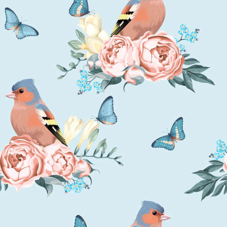 finch: Vintage birds and flowers vector seamless background with polka dot