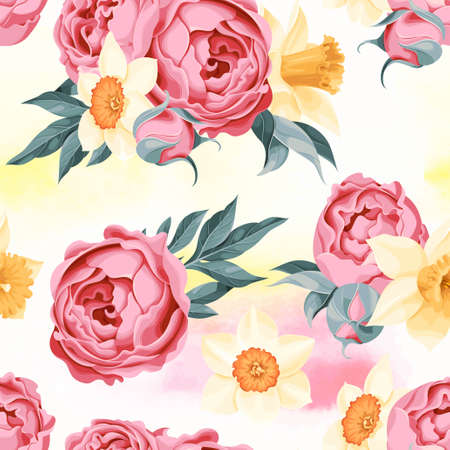 daffodil: Beautiful peony and daffodil seamless background with watercolor Illustration