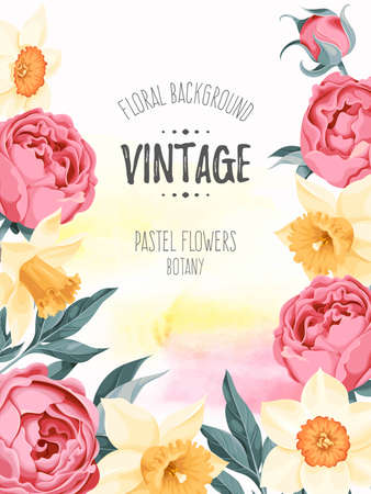 pastel flowers: Vintage watercolor background decorated with pastel flowers