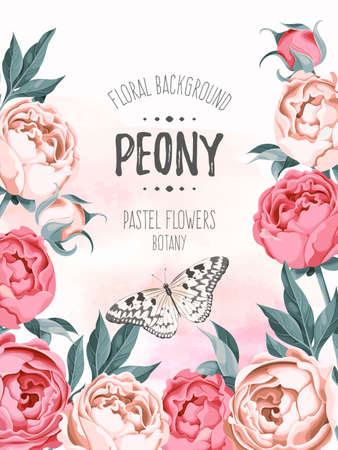 abstract rose: Vintage watercolor background decorated with pastel flowers