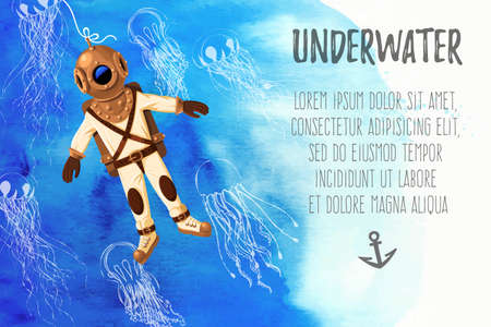 Vector illustration of retro diver and jellyfish on watercolor background with copy space Vektorové ilustrace