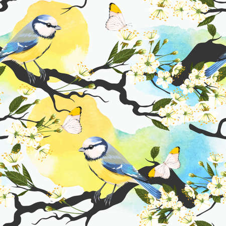 tomtit: Tomtit on blooming cherry branch vector seamless background