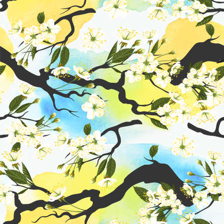 japanese garden: Blooming white cherry branches seamless background