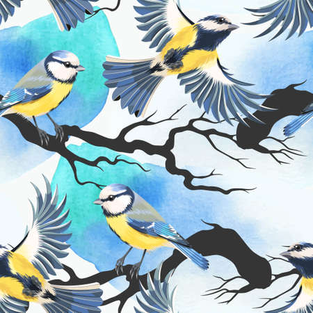 tomtit: Tomtit and watercolor blots vector seamless background Illustration