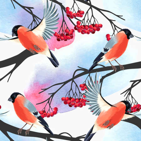 Bullfinch and rowan branches vector seamless background Ilustracja