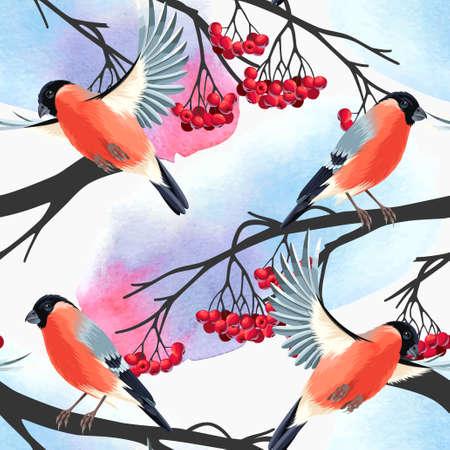 bullfinch: Bullfinch and rowan branches vector seamless background Illustration