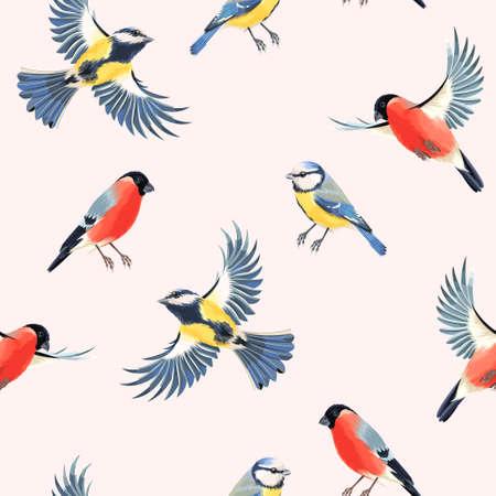Volar y camachuelo tomtit vector de fondo sin fisuras Ilustración de vector