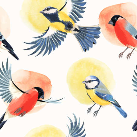 titmouse: Flying bullfinch and tomtit vector seamless background Illustration