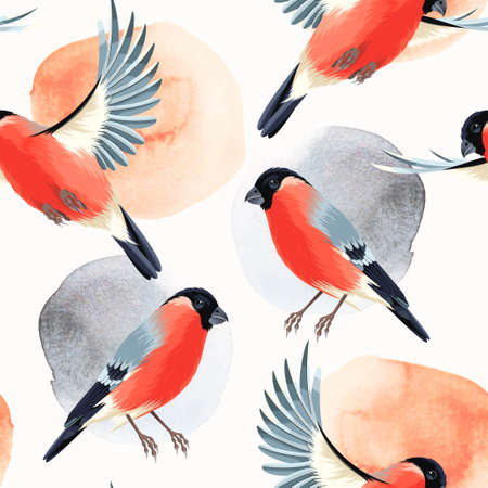 small flock: Flying and sitting bullfinches vector seamless background