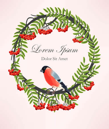 finch: Vector illustration of rowan wreath and bird