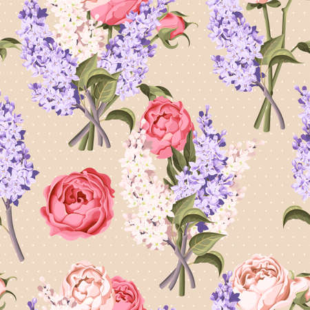lilac: Vintage peony and lilac vector seamless background