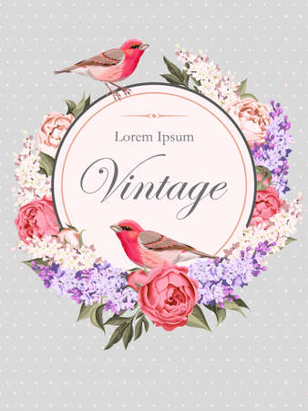 Vector vintage card with peony,lilac and birds Stok Fotoğraf - 56918148