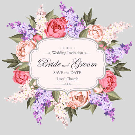 Vintage wedding invitation decorated with peony and lilac