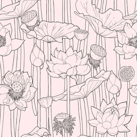 boll: Detailed blooming pink lotus vector seamless background