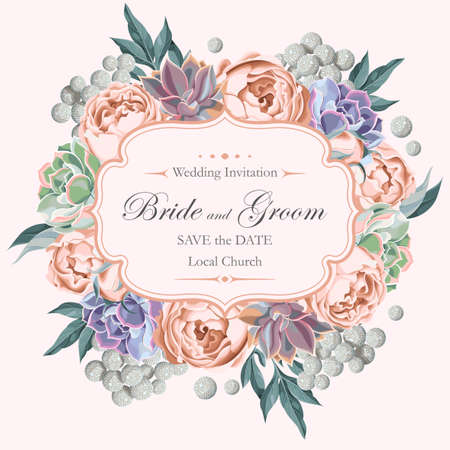 Vector vintage wedding invitation with peony roses and varicolored succulents