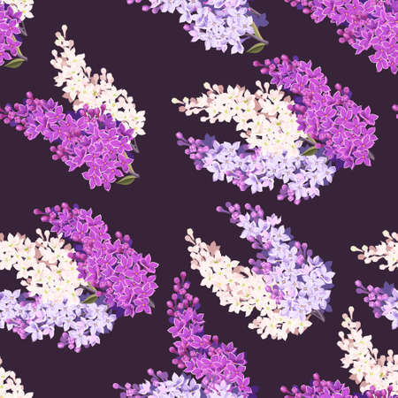 lilac: Vintage detailed lilac branches vector seamless background