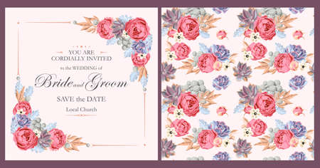 Vector vintage wedding invitation with peony roses and varicolored succulents Vettoriali