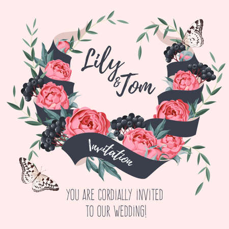 illustrates: Vector wedding invitation with ribbon and flower