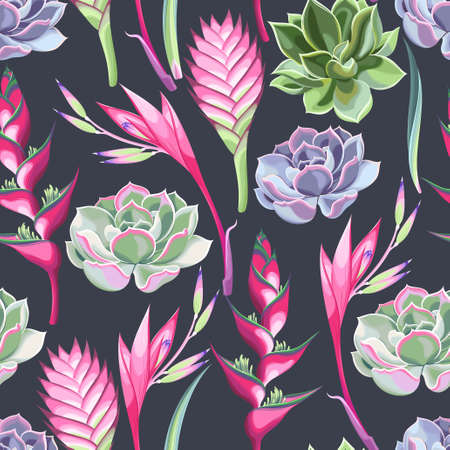succulent: Exotic jungle flowers and succulent seamless background Illustration
