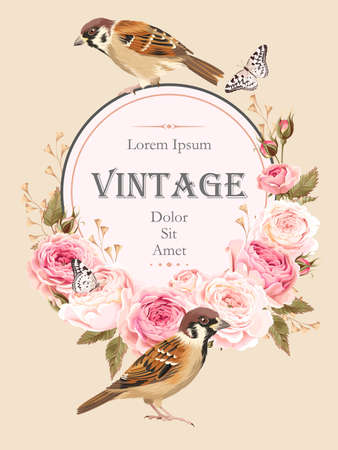 Vector vintage card with birds and english roses