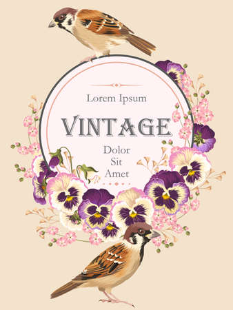 Vector vintage card with birds and pansies