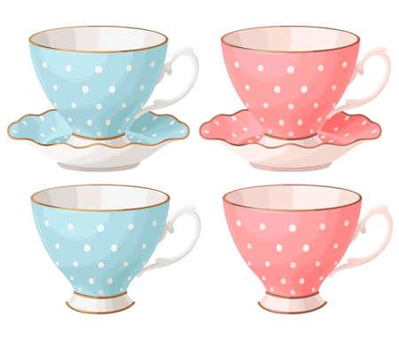 Vector set of vintage porcelain teacups and saucers