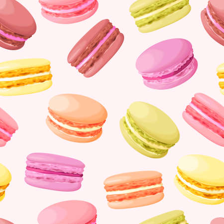 Pastel cute macarons vintage vector seamless background Ilustracja
