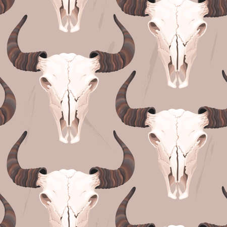 cherokee: High detailed buffalo skull vector seamless background Illustration