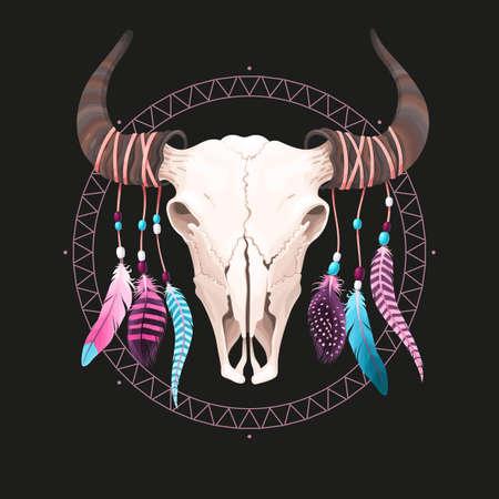 cherokee: Vector illustration of buffalo skull with feathers Illustration