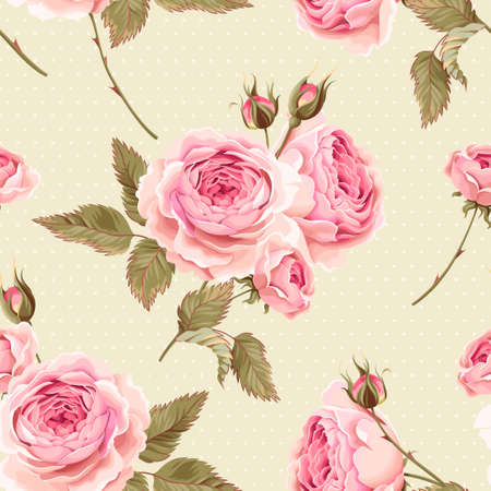 Vintage gentle english roses vector seamless background Illustration