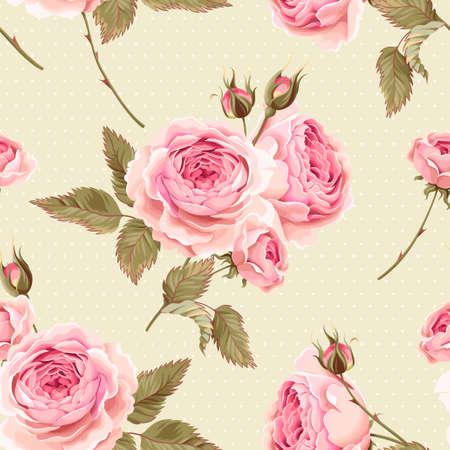 Vintage rosas inglesas suaves vector de fondo sin fisuras Foto de archivo - 61815291