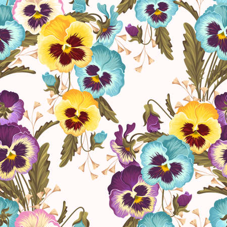 pansies: Bright and varicolored pansies vector seamless background