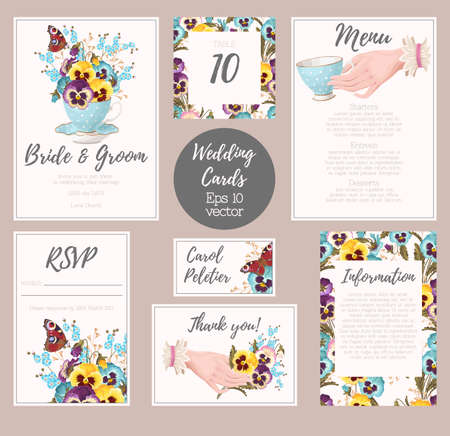suite: Vector wedding suite with detailed vintage elements Illustration