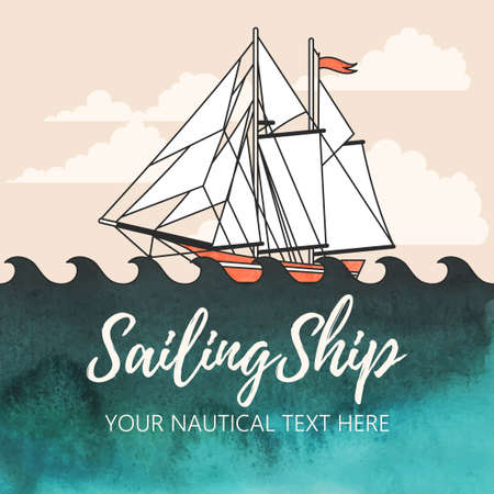 brigantine: Vector illustration of sailing ship with watercolor background