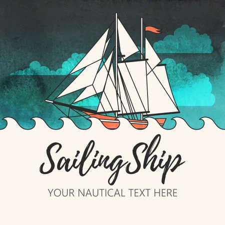 水彩画背景を持つ帆船のベクトル イラスト