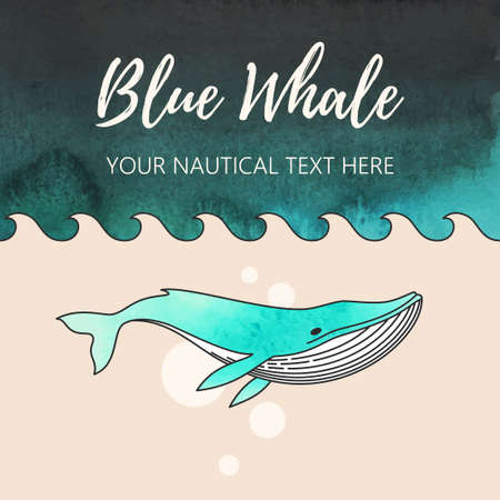 Vector illustration of whale woth watercolor background
