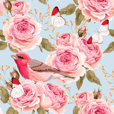Vintage english roses and birds vector seamless background Illustration