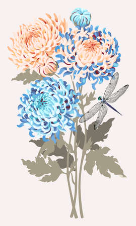 Vector illustration of bouquet of high detailed chrysanthemums
