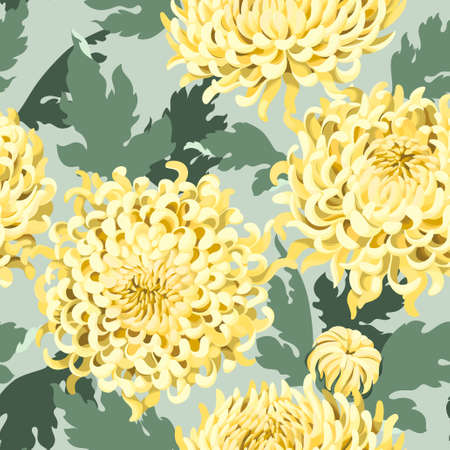 japanese chrysanthemum: Japanese chrysanthemum flowers and leaves vector seamless background